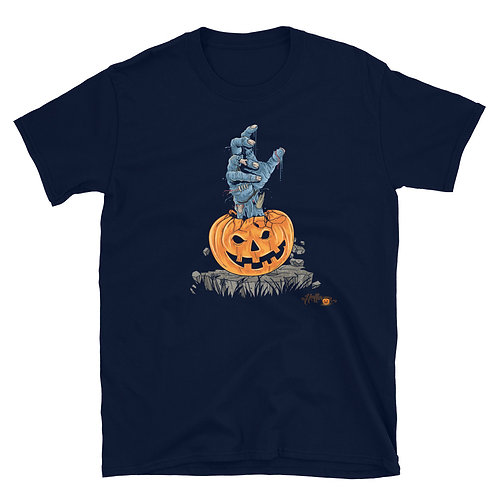 A scary pumpkin from which Mummy's hand comes out, a little Halloween phrase