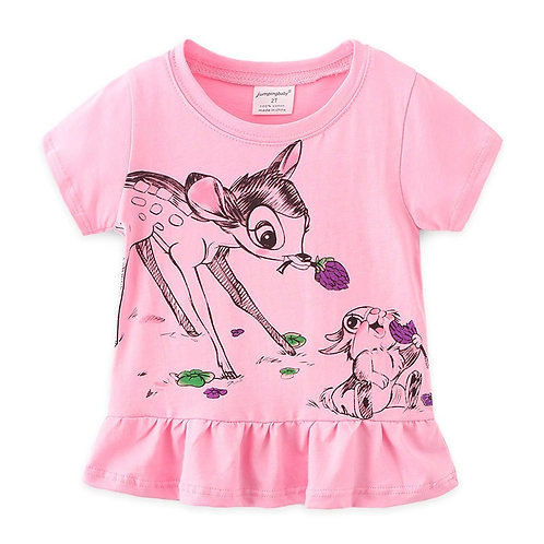 Jumpingbaby 2020 T-Shirt Girls T Shirt Kids Tshirt Animal Print Summer Tops