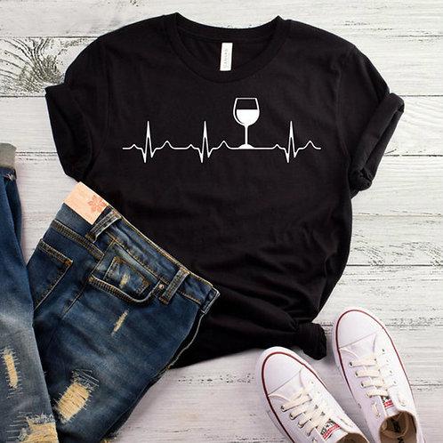 Wine Heartbeat Print T Shirt Women Short Sleeve O Neck Loose Tshirt 2020 Summer