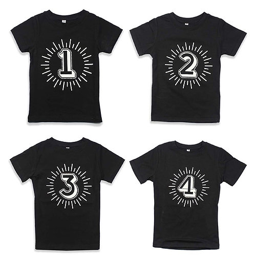 Birthday Party T-Shirts Children Baby Girl Summer Black Tshirt Kids Number 1 2 3