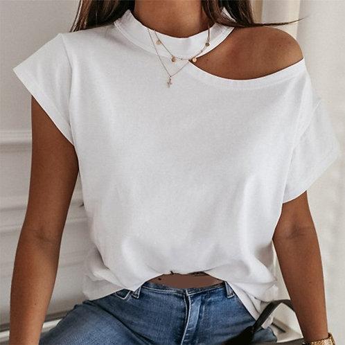 Girls Tshirt Off Shoulder Short Sleeve White Solid Black Ladies Tshirts