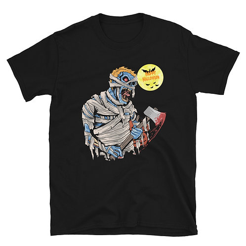 Mummy on Halloween day with ax, blood, lunar night and bats  Unisex T-Shirt