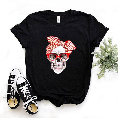 Bandana Skull Print Women Tshirt Cotton Casual Funny T Shirt Gift 90s Lady Yong