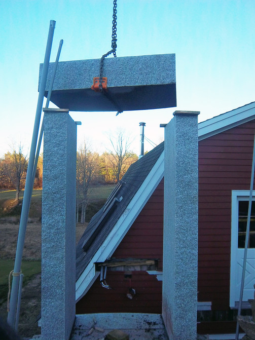 The door surrounds and steps are made from Swenson granite.