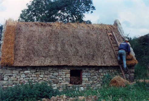 The roof initially gets two coats of thatch. Then a new layer is needed every 15 years.