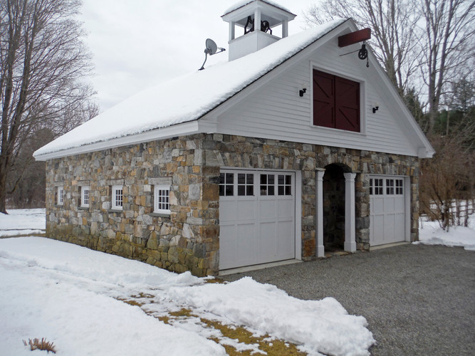 Garage veneered with CT field stone.