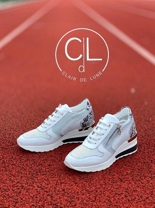 Clair De Lune sneakers voor steunzolen slang & wit