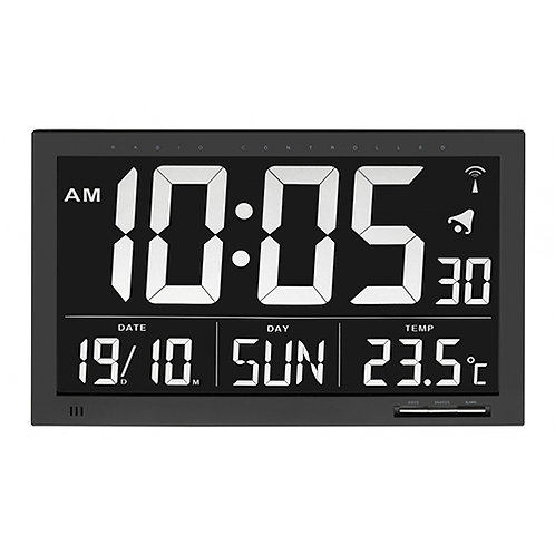 Horloge radio-pilotée avec température XL