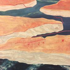 Détail sur les îles texturées au ciment-colle