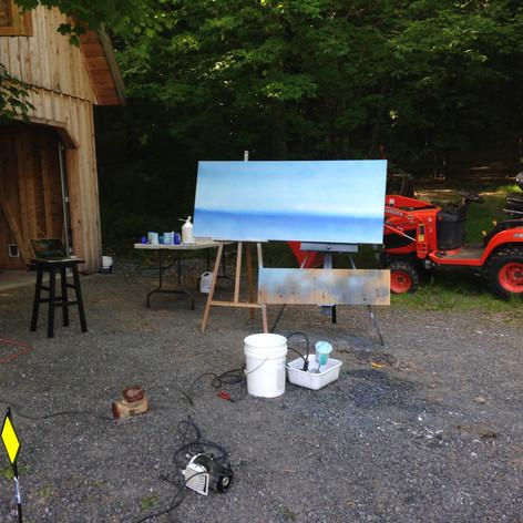 4. Réalisation de la couche de fond (ciel et lac) en dégradé bleu au fusil à peinture
