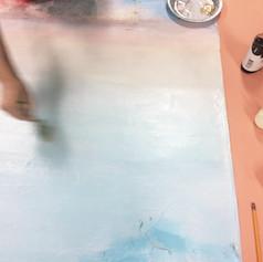 Léchage du dégradé : de la peinture à l'huile est appliquée au pinceau