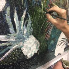 Travail de peinture sur le faux fini