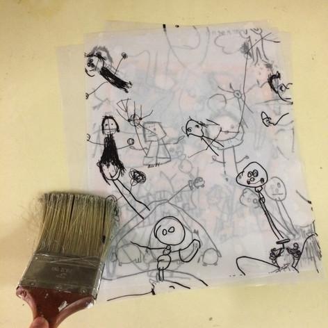 Préparation des dessins pour la sérigaphie