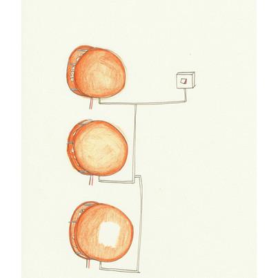 Three amber lamps