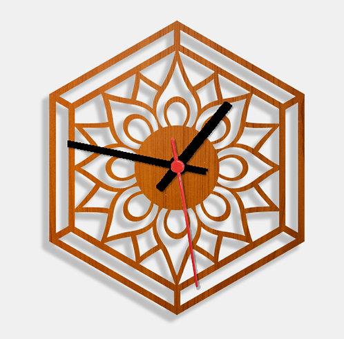 Wooden Laser Cut Teak Wood Finish Wall Clock (004)