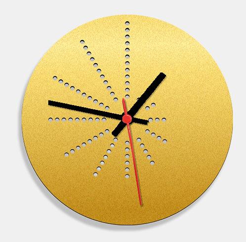 Wooden Laser Cut Golden Wall Clock (009)