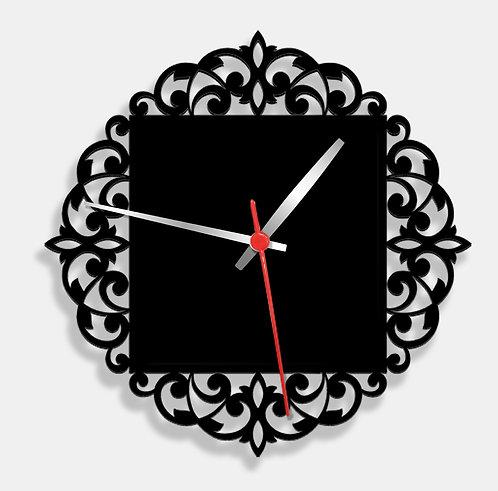 Wooden Laser Cut Black Wall Clock (016)