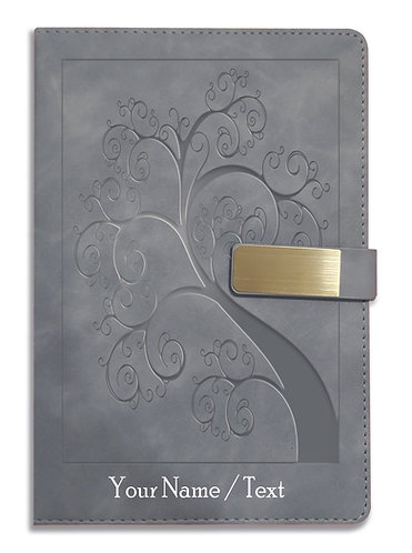 Personalized Hardbound VLVT FINISH NoteBook/Diary with MAGNETIC Lock-NB Grey 004