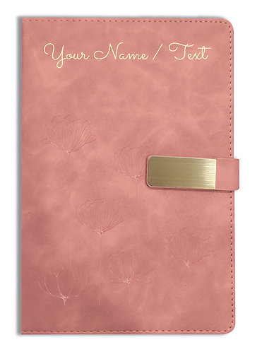 Personalized Hardbound VLVT FINISH NoteBook/Diary with MAGNETIC Lock-NB Brwn 011