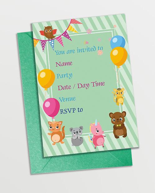 Customized Baby Animal Theme Invitation Cards (PS InvCard 1)