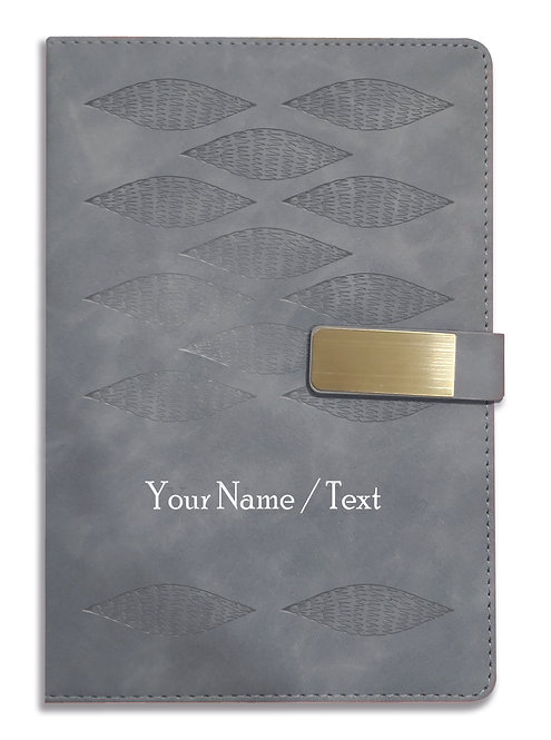 Personalized Hardbound VLVT FINISH NoteBook/Diary with MAGNETIC Lock-NB Grey 006