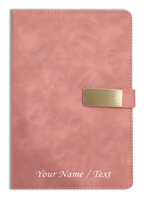Personalized Hardbound VLVT FINISH NoteBook/Diary with MAGNETIC Lock-NB Brwn 009