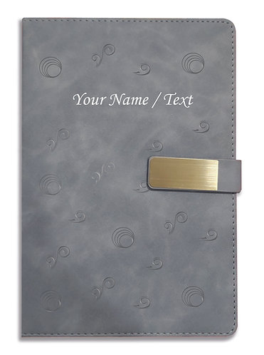 Personalized Hardbound VLVT FINISH NoteBook/Diary with MAGNETIC Lock-NB Grey 013