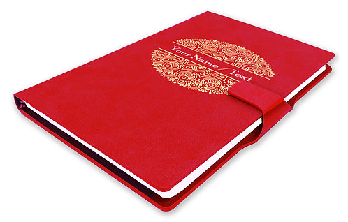 Personalized Hardbound NoteBook / Diary with MAGNETIC Lock (NB Red Mag 007)