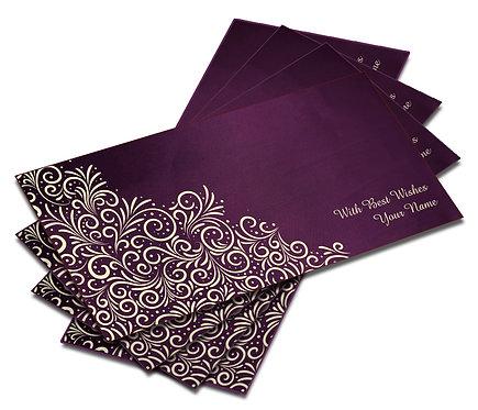 Shagun Envelope on Purple Satin paper(Pack of 10) SESATIN PURPLE 002