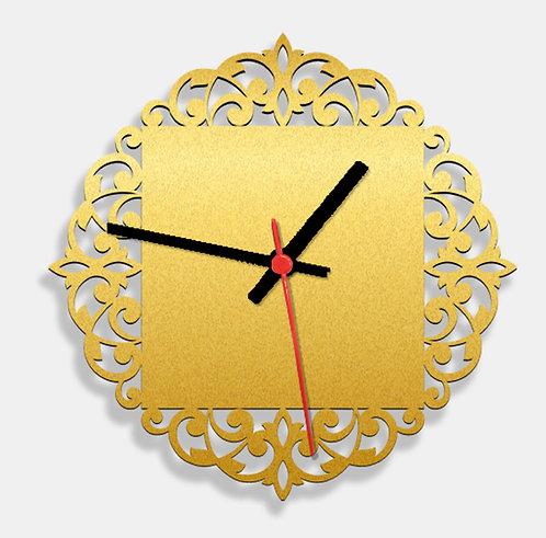 Wooden Laser Cut Golden Wall Clock (016)