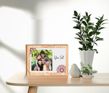 Personalized Collage/Photograph Printed on Wood Block can be used as Photo Frame