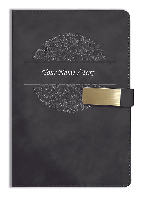Personalized Hardbound VLVT FINISH NoteBook/Diary with MAGNETIC Lock-NB Blck 010