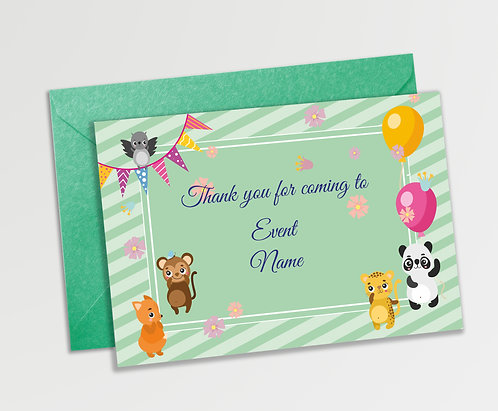 Customized Baby Animal Theme Thank You Cards (PS TCard 01)