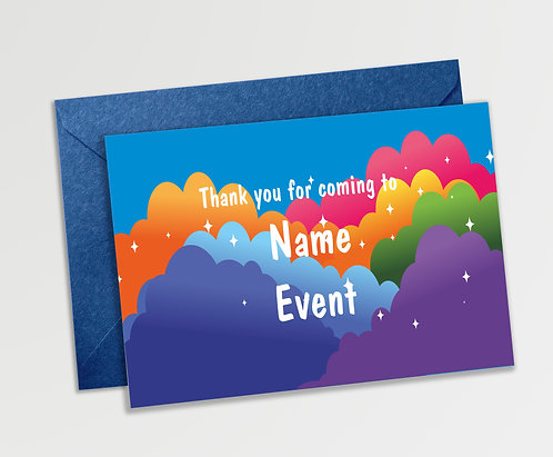 Customized Rainbow Theme Thank You Cards (PS TCard 05)