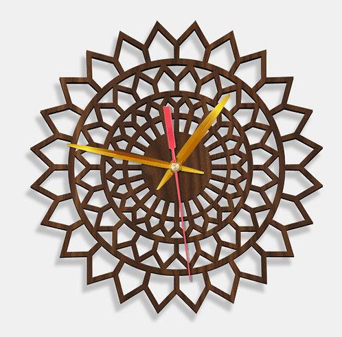 Wooden Laser Cut Walnut Wood Finish Wall Clock (008)