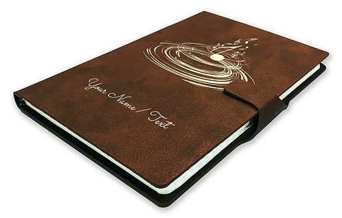 Personalized Hardbound NoteBook/Diary with MAGNETIC Lock (NB Dark Brown Mag 006)