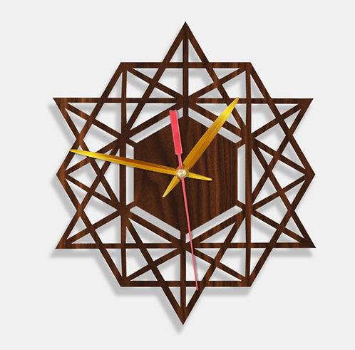 Wooden Laser Cut Walnut Wood Finish Wall Clock (011)