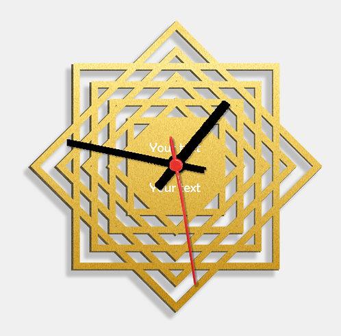 Wooden Laser Cut Golden Wall Clock (005)
