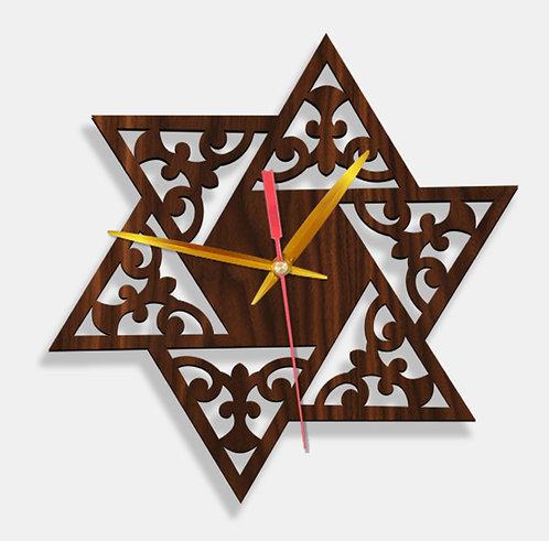 Wooden Laser Cut Walnut Wood Finish Wall Clock (015)
