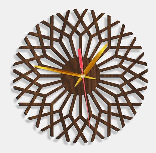 Wooden Laser Cut Walnut Wood Finish Wall Clock (003)