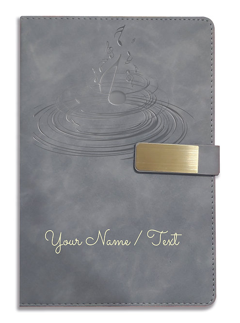 Personalized Hardbound VLVT FINISH NoteBook/Diary with MAGNETIC Lock-NB Grey 012