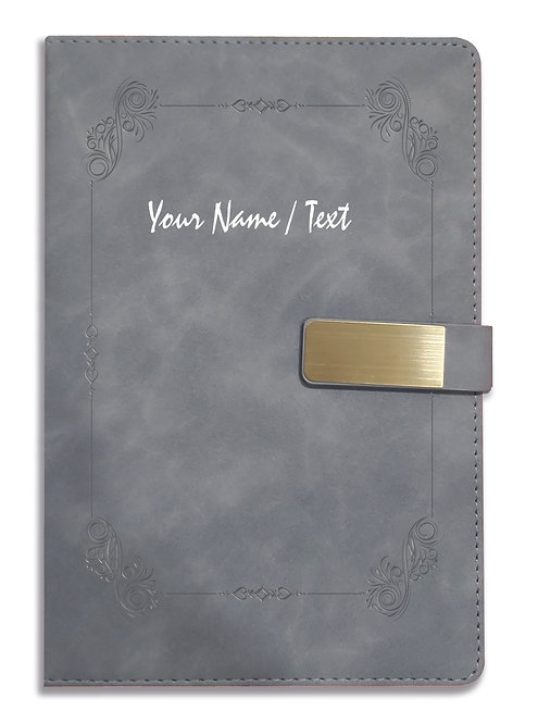 Personalized Hardbound VLVT FINISH NoteBook/Diary with MAGNETIC Lock-NB Grey 007