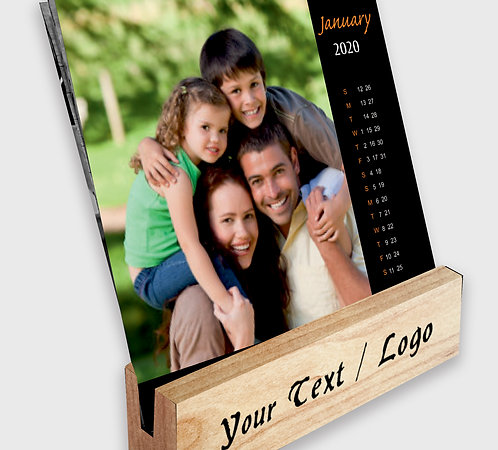Personalized Table Calendar on Wooden Block Stand (DCal Wood 03)