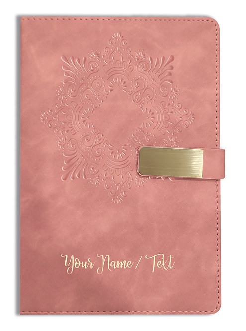 Personalized Hardbound VLVT FINISH NoteBook/Diary with MAGNETIC Lock-NB Brwn 002