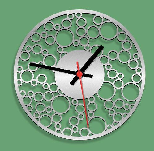 Wooden Laser Cut Silver Wall Clock (013)