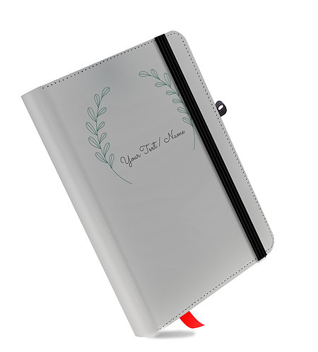 Personalized Grey Leather NoteBook / Diary (05)