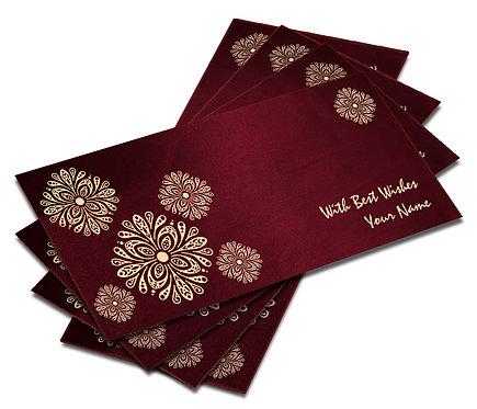 Shagun Envelope on Maroon Satin paper(Pack of 10) SESATIN 001