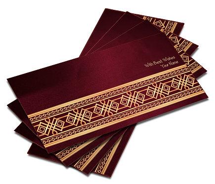 Shagun Envelope on Maroon Satin paper(Pack of 10) SESATIN 003