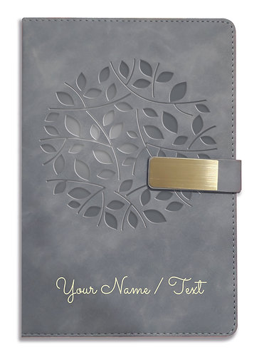 Personalized Hardbound VLVT FINISH NoteBook/Diary with MAGNETIC Lock-NB Grey 001