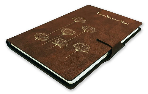 Personalized Hardbound NoteBook/Diary with MAGNETIC Lock (NB Dark Brown Mag 007)